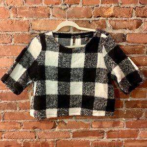 Black & White Buffalo Check Wool Crop Top - Large